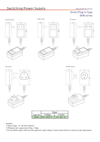 SMPS-36W Series Direct Plug-in Type SA16