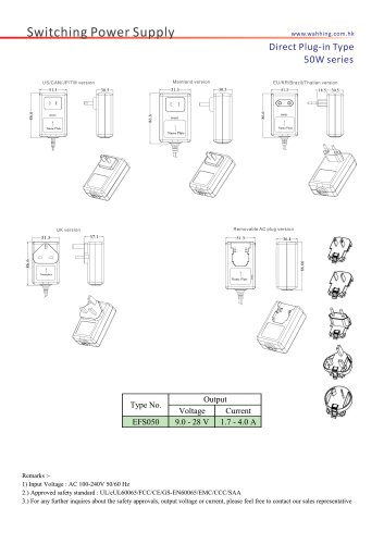SMPS-50W Series Direct Plug-in Type EFS050