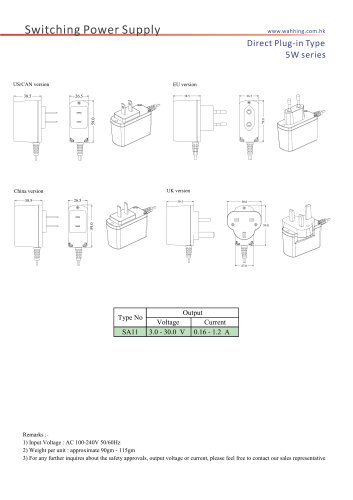 SMPS-5W Series Direct Plug-in Type SA11