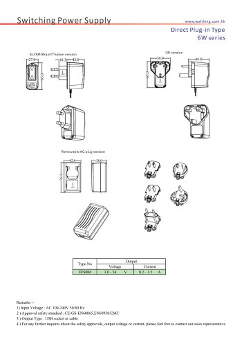 SMPS-6W Series Direct Plug-in Type EFS006