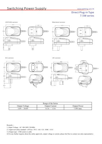 SMPS-7.5W series Direct Plug-in Type