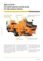 MOLI 2110 HP ? the mobile pipeline concrete pump for high-pressure delivery