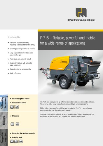 P 715 – Reliable, powerful and mobile for a wide range of applications