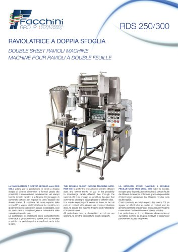 RDS 250/300 DOUBLE SHEET RAVIOLI MACHINE