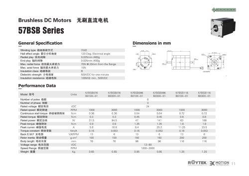 brushless motor / three-phase / 12V / 80 V 57BSB Series