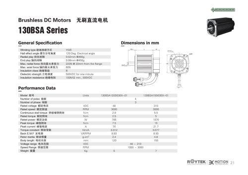 brushless motor / three-phase / 48V / 4-pole 130BSA Series