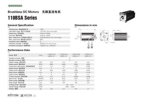 brushless motor / three-phase / 48V / 8-pole 110BSA Series