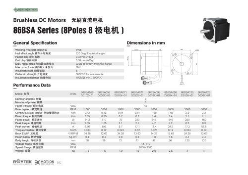 Brushless Motor/Three-phase/86BSA Series(8 Poles)