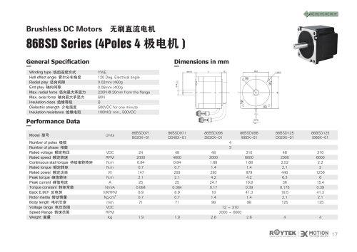 Brushless Motor/Three-phase/86BSD Series(4Poles)