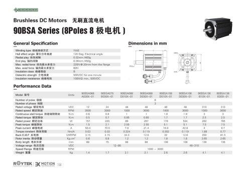 Brushless Motor/Three-phase/90BSA Series(8Poles)
