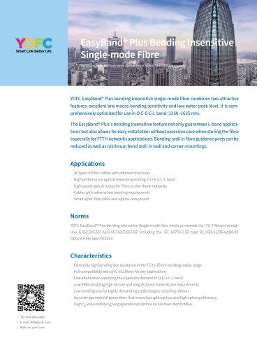 EasyBand® Plus Bending Insensitive Single-mode Fibre