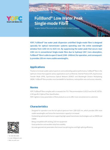 FullBand® Low Water Peak Single-mode Fibre