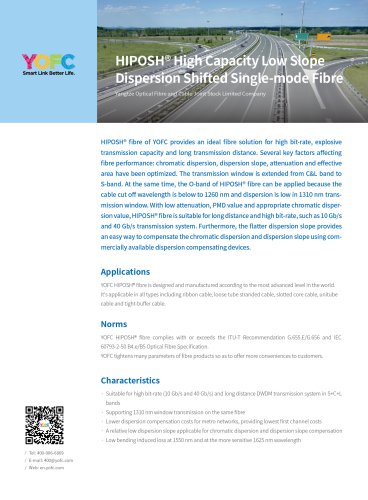 HIPOSH® High Capacity Low Slope Dispersion Shifted Single-mode Fibre