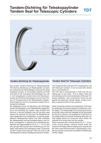 Tandem Seal for Telescopic Cylinders TDT