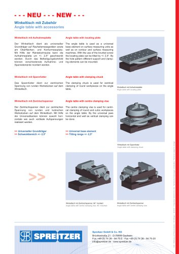 Angle table, angle plate with accessories