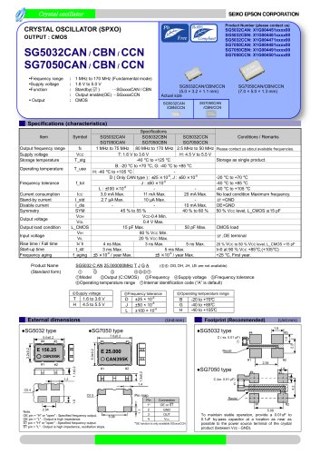 SG5032CAN / CBN / CCN SG7050CAN / CBN / CCN