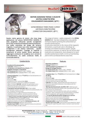 Double speed 4/8 poles Dahlander motors