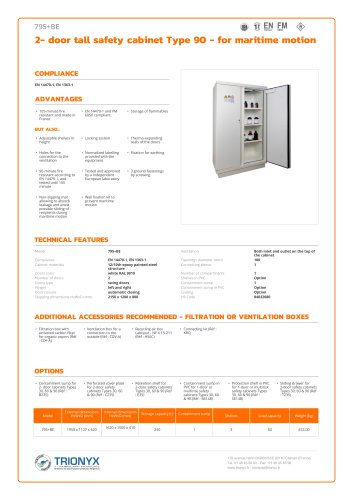 2- door tall safety cabinet Type 90 - for maritime motion