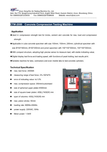 CTM-2000 Concrete Compression Testing Machine