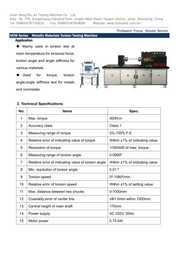 NDW-500 Metallic Materials Torsion Testing Machine