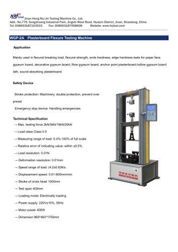 WGP-2A Plasterboard Flexure Testing Machine