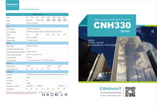 CNH330 Series / High Frequency Online UPS 10/80 KVA
