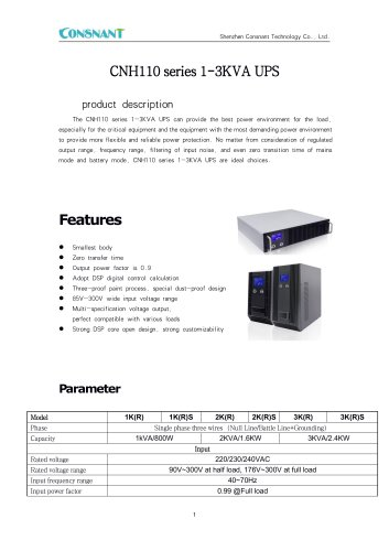 Online UPS 1-3KVA with power factor 0.9