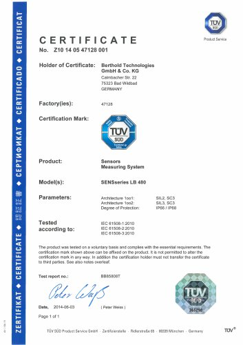 Certificate SENSseries LB 480