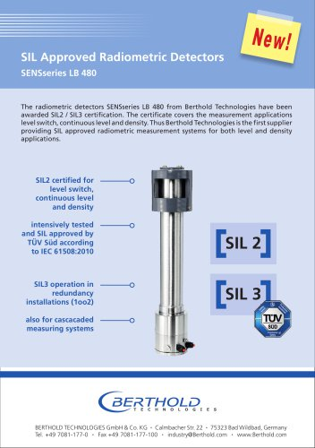 SIL Approved Radiometric Detectors