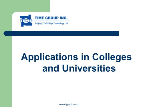 Applications in Colleges and Universities