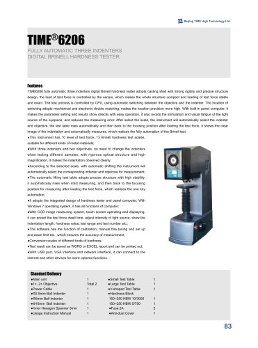 Automatic TIME®6206 Three Indenters Digital Brinell Hardness Tester