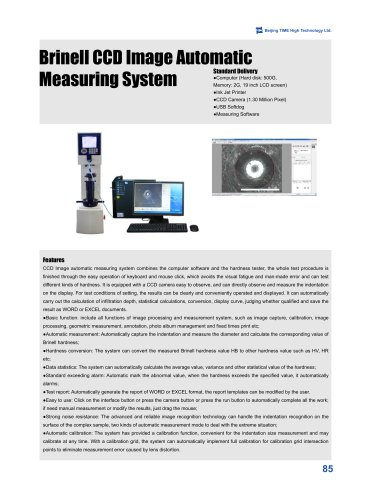 Brinell CCD Image Automatic Measuring System