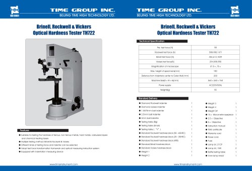 Brinell,Rockwell&Vickers Optical Hardness tESTER TH722