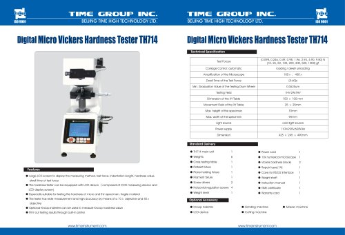 Digital Hardness Vickers Tester TH714
