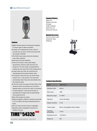 Digital Shore Hardness Tester TIME5432C for Microporous Materials for Shoes