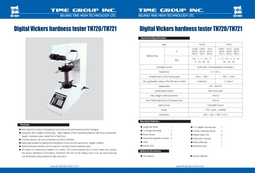Digital Vickers Hardness Tester TH720/TH721