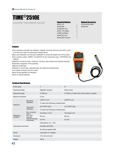 F/NF Coating Thickness Gauge TIME®2510E