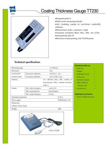 Portable Coating Thickness Gauge TT230