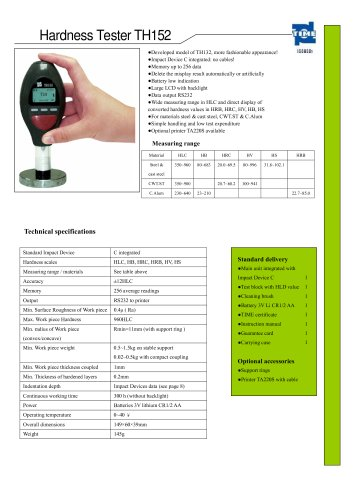 Portable Hardness Tester TH152