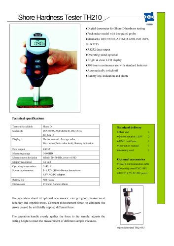 Portable Shore D Hardness Tester TH210