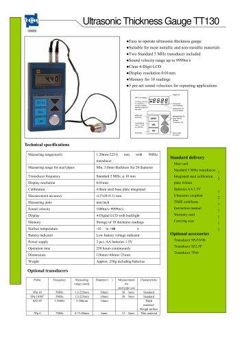 Portable Ultrasonic Thickness Gauge TT130