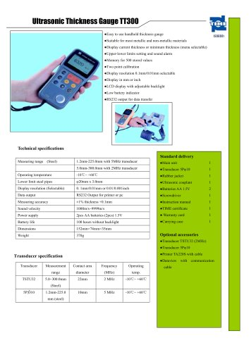 Portable Ultrasonic Thickness Gauge TT300