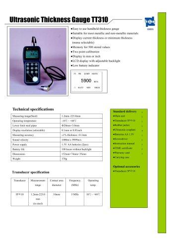 Portable Ultrasonic Thickness Gauge TT310