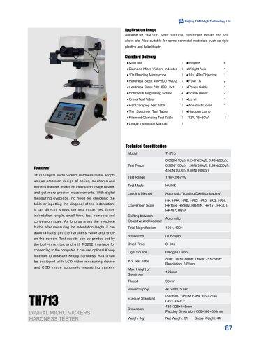 TH713 Digital Micro Vickers Hardness Tester