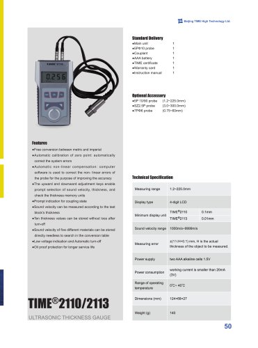 TIME2110/2113 Ultrasonic Thickness Gauge