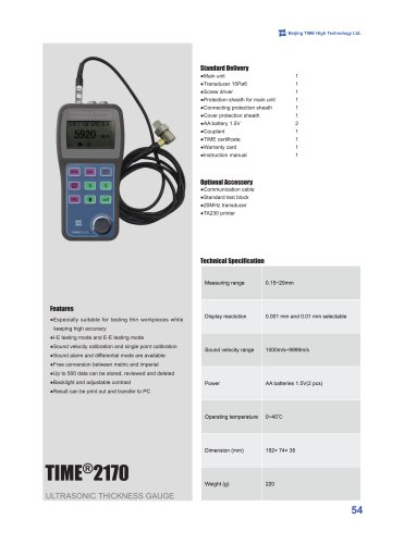 TIME2170 Ultrasonic Thickness Meter for Thin Workpieces