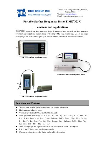 TIME322X series digital surface roughness tester introduction