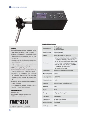 TIME3230 Advanced Surface Roughness Tester Profilometer