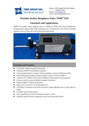 TIME3231 Digital Surface Roughness Tester Functions and Applications