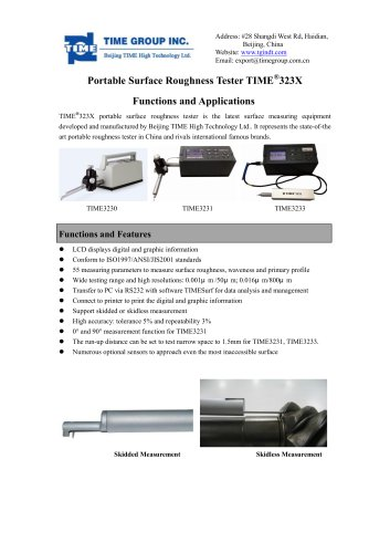 TIME323X series surface roughness tester functions and applications